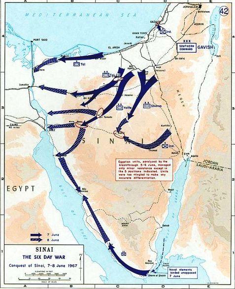 guerra dei 6 giorni, mappa delle operazioni
